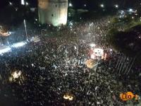 Eντυπωσιακές εικόνες από το πάρτι των οπαδών του ΠΑΟΚ στον Λευκό Πύργο (ΒΙΝΤΕΟ)